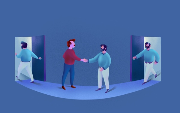 Two men handshake while entering and exiting through doors