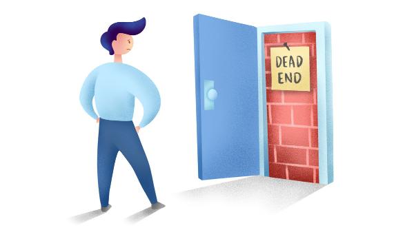 "Employee facing an open door labeled ""dead end"""
