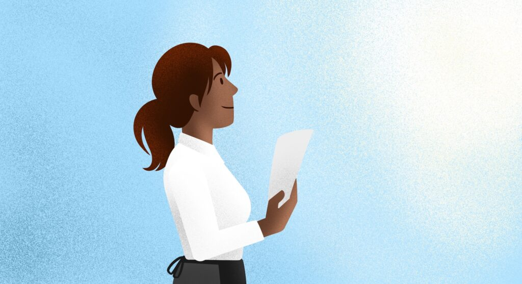 Illustration of woman looking up holding a sheet of paper.