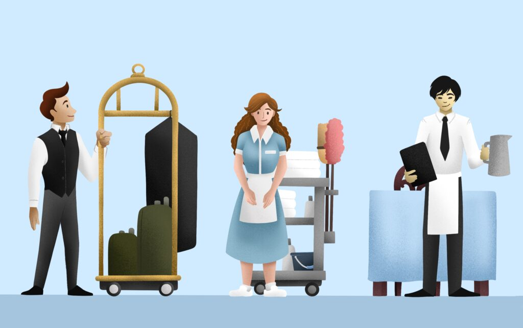 Illustrations of three hospitality workers