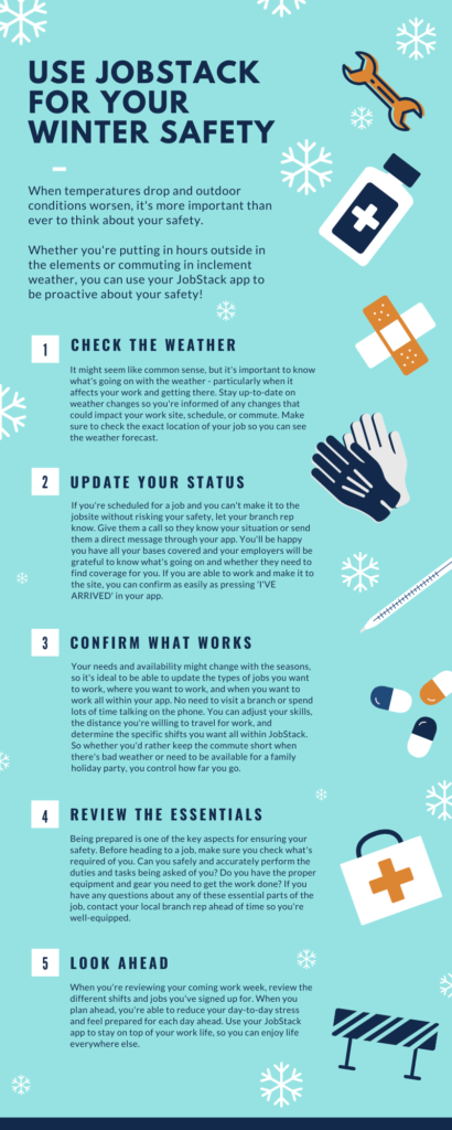 """Use JobStack for Winter Safety"" infographic"